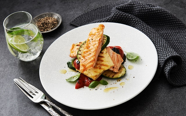 Grilled Haloumi And Salmon Stacks