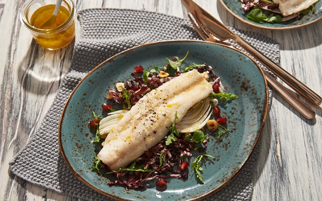 Whiting Fillets With  Radicchio Hazelnut And Fennel Salad