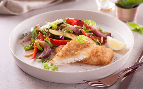 Lemon Crumbed Fish With Fragrant Vegetables